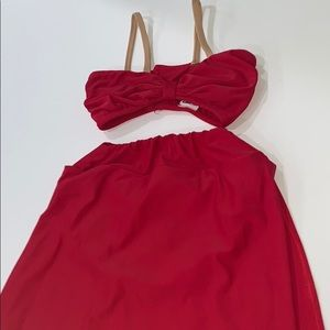 Custom LA dance designs red shell top and skirt